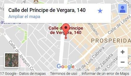 Ubicación de Madrid Emprende: C/ Principe de Vergara, 140, Primera planta, 28080 Madrid